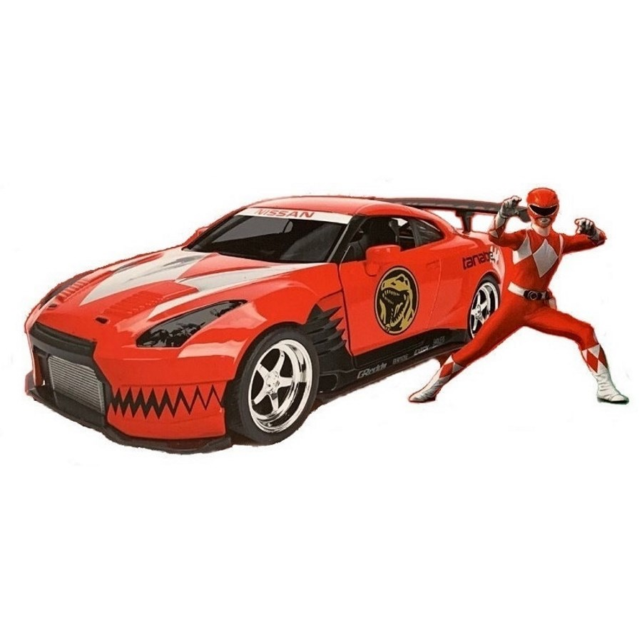 Jada Diecast 1:24 Power Rangers Red Ranger 2009 Nissan GT-R With Figure