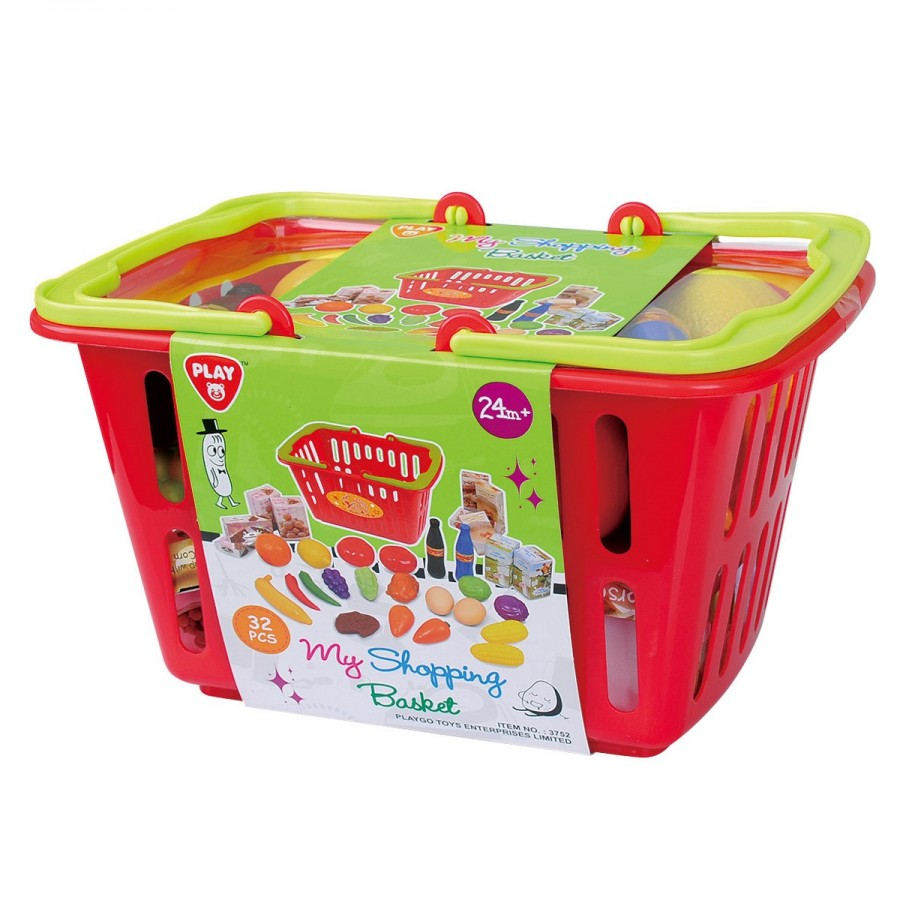 Shopping Basket With Groceries 32 Piece Set