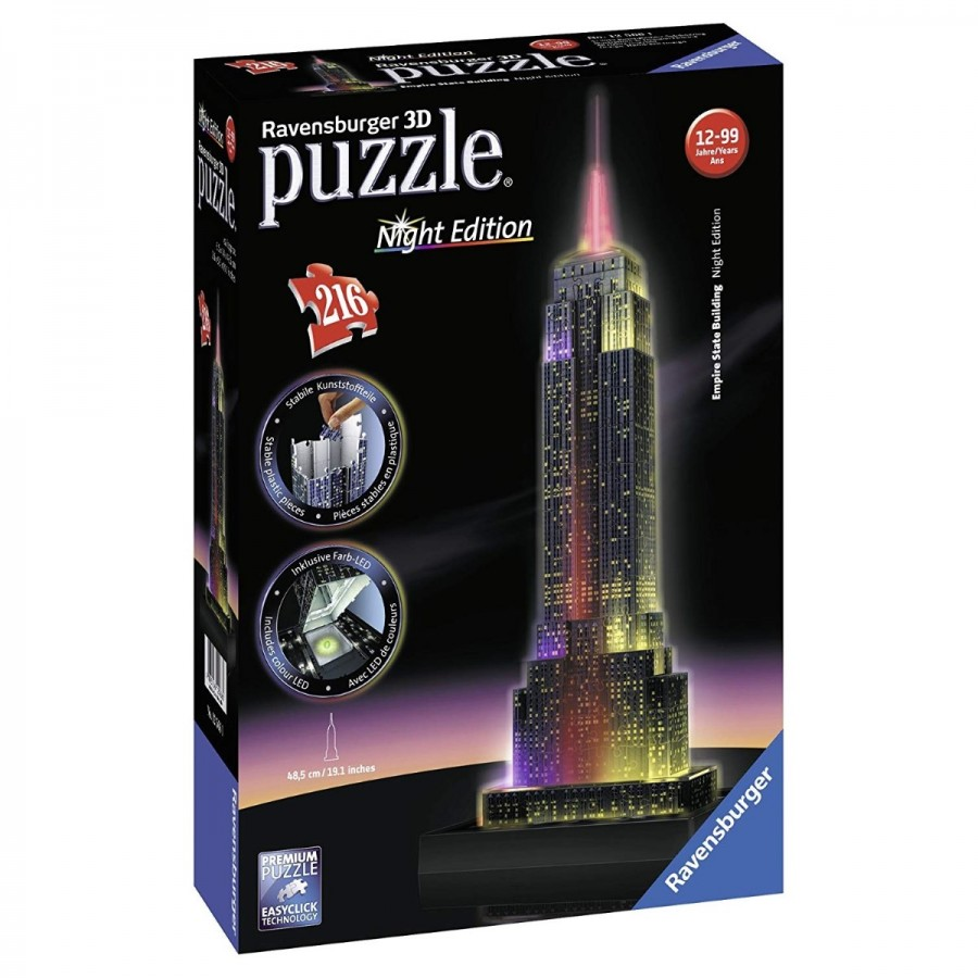 Ravensburger Puzzle Empire State At Night 3D Puzzle 216pc