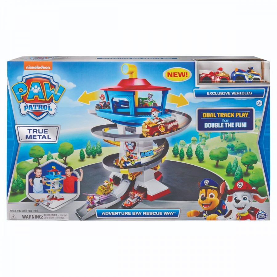 Paw Patrol True Metal Dieccast Adventure Bay Speedway With Two Vehicles