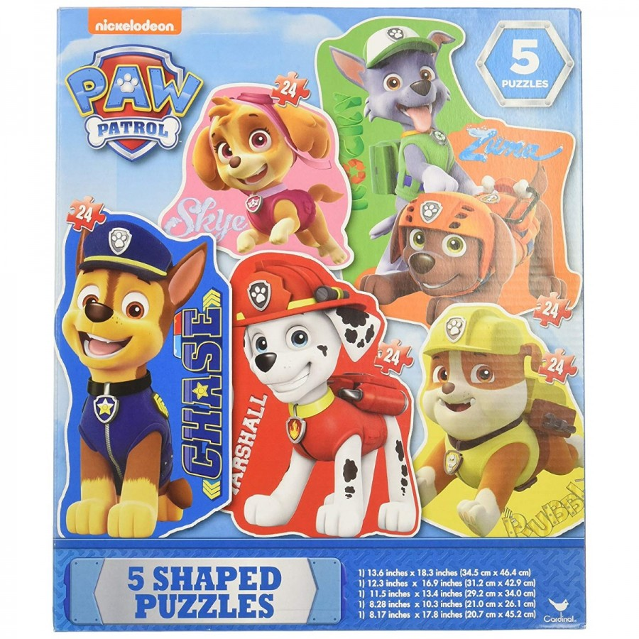 Paw Patrol 5 Puzzle Pack Clear Box